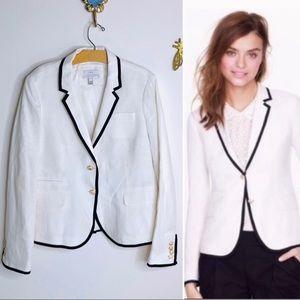 J. Crew Schoolboy Linen Black White Blazer Jacket
